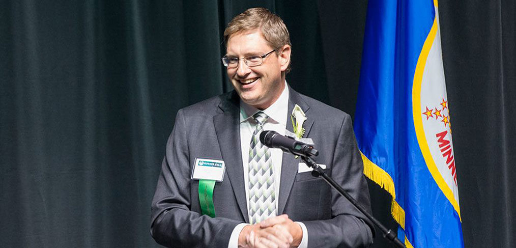 Brian Maciej during speech at Bemidji State University, MN.