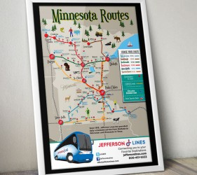 Jefferson Lines Illustration MN Map