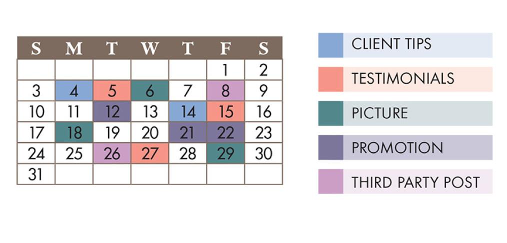 Social media calendar for planning.